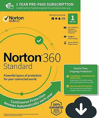 Norton 360 Standard 2020 1 Device 1 PC 1 Year +Secure VPN Internet Security 2019