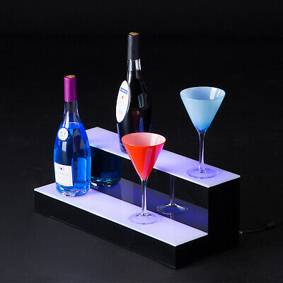 "20"" LED Lighted Back Bar Glowing Liquor Bottle Display Shelf Glowing 2 Step Tier"