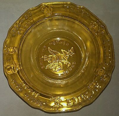 Tiara by RS Nursery Rhyme Child's Bowl Glass Amber Tint Mother Goose Vintage