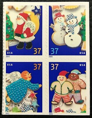 2005 Scott #3953-3956, 37¢, CHRISTMAS COOKIES - Mint NH - Booklet Block of 4