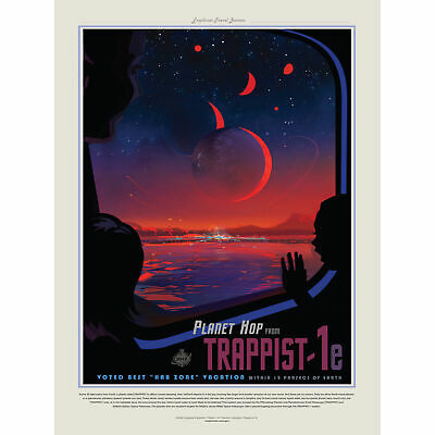 NASA Space Travel Advert Trappist 1E Large Wall Art Print 18X24 In