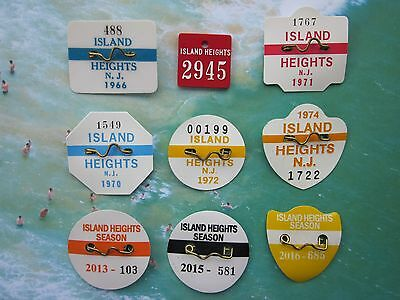 8  Year Collection   Of   Island  Heights  New Jersey Seasonal Beach Badges/Tags