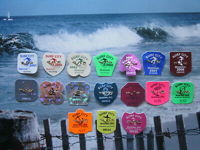 17  Year  Collection   Surf  City  New   Jersey  Seasonal  Beach  Badges/Tags