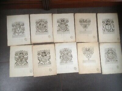 10 GRAVURES ANCIENNES  BLASONS ARMOIRIES XVII,  XVIIIème SIECLE TAMPONS D'HOZIER