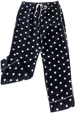 Victorias Secret Satin Lounge Blue & Black Polka Dot Pajamas Pants Size XLarge