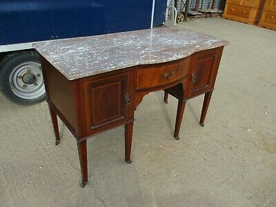 An Edwardian Mahogany and Inlaid Sideboard Buffet Washstand Marble Top Cabinet