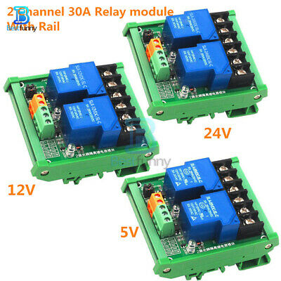 2-Channel 30A Relay Switch Module Optocoupler Isolation Trigger Board 5/12/24V