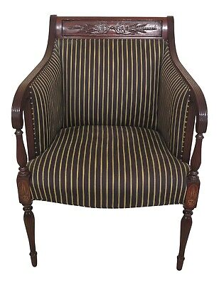 47842EC: SOUTHWOOD Sheraton Style Carved Mahogany Upholstered Chair