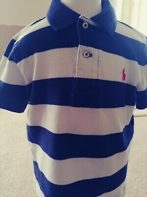 Ralph Lauren Toddler Boys Navy Blue and White Striped Polo Shirt Size 2T