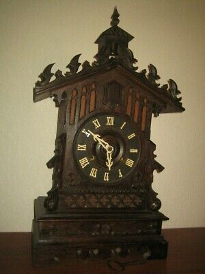Antique Large  Gothic Mantel Cuckoo Clock