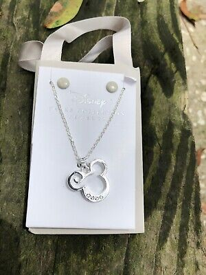Disney Mickey Mouse icon French Swirl SilverTone Swarovski Crystals Necklace