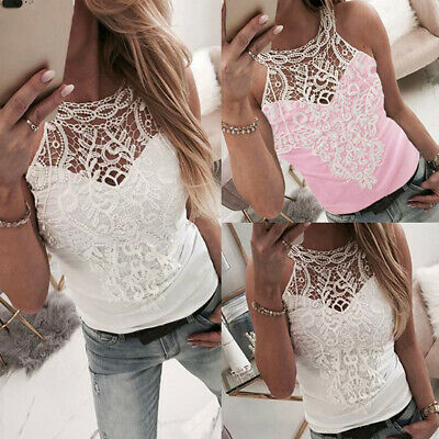 Womens Lace Hallow Out Vest Tank Tops Ladies Summer Camisole Tank T Shirt Blouse