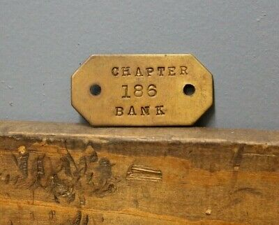 Antique Vintage Chapter 186 Bank Brass Name plate Tag Badge Trunk old Furniture