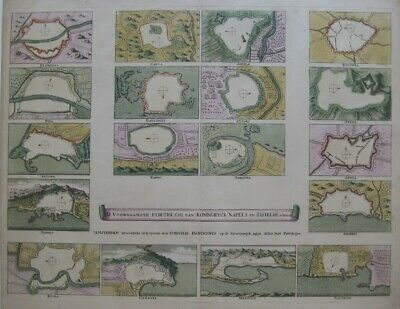 Original 1680 Cornelis Danckerts Map FORTIFIED CITIES in Naples and Sicily Italy