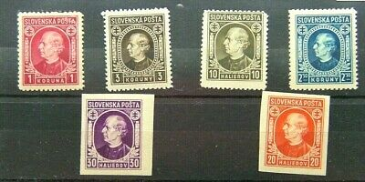 Slovakia 1939 - Six Portrait Stamps (2 Are Imperf) - Mint Never Hinged/Mint Hing