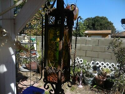 """Spanish Revival Amber Glass Swag Lamp Light Pendant Gothic Iron Mission 32"""" 1900"""