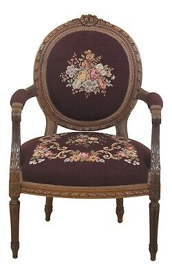 47836EC: Vintage Needlepoint French Louis XV Style Open Arm Chair