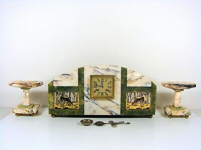 Huge French Art Deco Marble Clock Garniture gilt silver painted plates signed