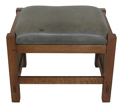 31197EC: STICKLEY Mission Oak Arts & Crafts Leather Ottoman Or Stool