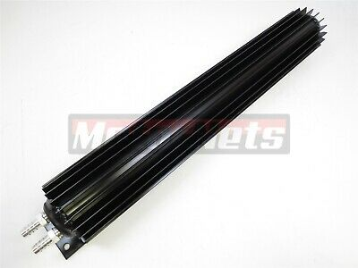 """18/"""" Black Anodized Dual Pass Finned Aluminum Transmission Cooler with Fittings"""