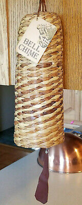 """Vintage 1980 PAUL MARSHALL Wicker Covered BELL CHIME with Original Tag 27"""" long"""