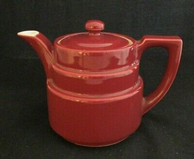 Vintage Ceramic Genuine Coorsite by Coors Burgundy Color Teapot #491 Made in USA