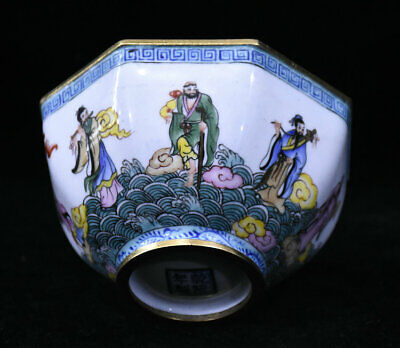 """4"""" Old Chinese dynasty Palace Copper Cloisonne Eight Immortals Round Bowl"""
