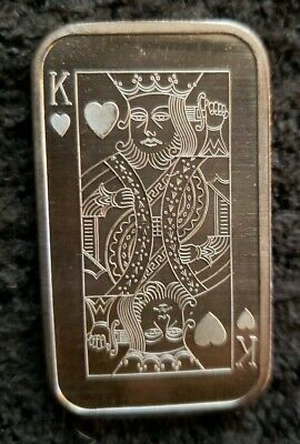 Vintage Madison Mint King of Hearts Playing Card 1oz .999 Fine Silver Art Bar