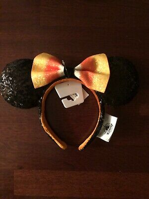 Disney 2019 Halloween Candy Corn Bow Minnie Mouse Ears Headband NWT