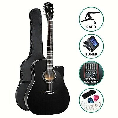 "Alpha 41"" Inch Electric Acoustic Guitar Wooden Classical Full Size EQ Capo Black"