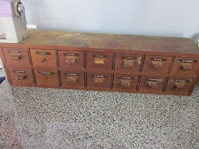 Vintage Antique Wooden Storage Box 14 Drawers