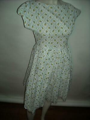 VTG 40s 50s Womens Small White Flower Print Cotton Day Sun Dress