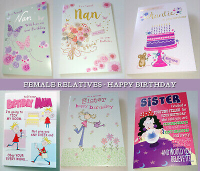"FEMALE RELATIVES HAPPY BIRTHDAY CARD Sister Mum Nan Auntie 5x7"" White Env NICE"