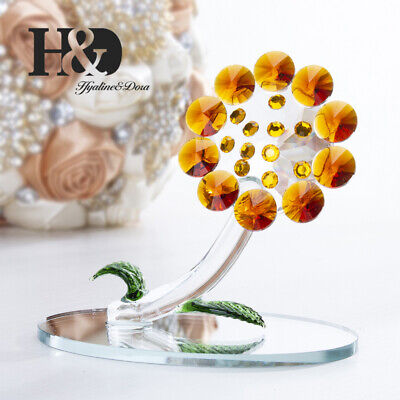 Novel Crystal Sun Flower Figurines Cut Glass Ornaments Mother Gift Wedding Decor