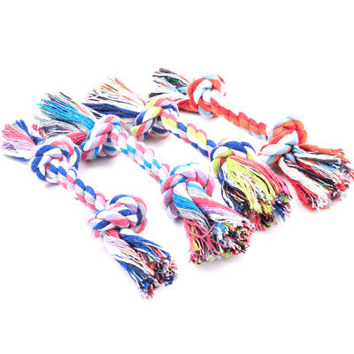 1PC Puppy Dog Cat Pet Toy Cotton Braided Bone Rope Teeth Clean Tug Chew Knot ATA
