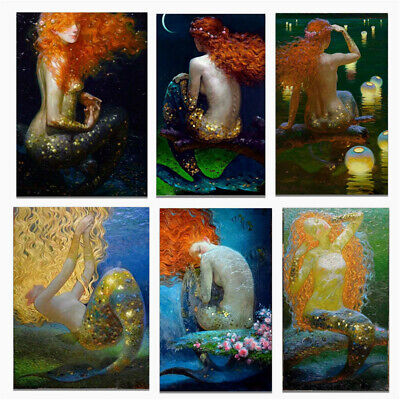 Mermaid Canvas Art Poster Print Wall Picture Living Room Home Decor Unframed