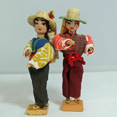 """2 Vintage Dolls Hand Made in Guatemala 6"""" Tall"""