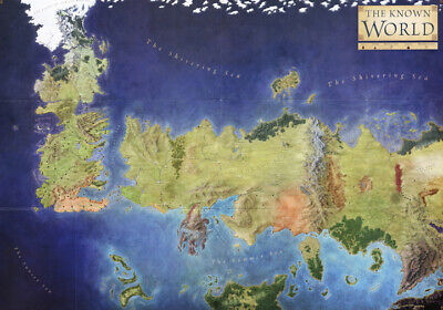 GAME OF THRONES THE KNOWN WORLD MAP  * LARGE A3 SiZE QUALITY CANVAS PRINT