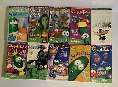 Kids Lot of 10 VeggieTales Classic Sing Along Learning VHS Video Tapes