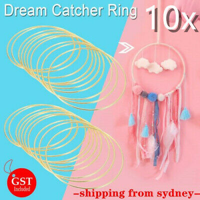 10Pcs Metal Dream Catcher Dreamcatcher Feather Ring Craft Round Hoop Gold 150mm