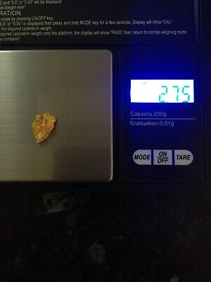 Gold Nugget Nice Piece 2.75g High Purity Very Nice Piece .