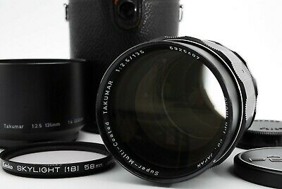 【 EXC+4 】 Pentax SMC Takumar 135mm f2.5 MF Lens w/ Hood M42 From Japan