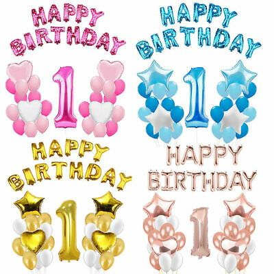 First 1st Birthday Number 1 Boy Girl Foil Balloons Baby Party Decoration UK