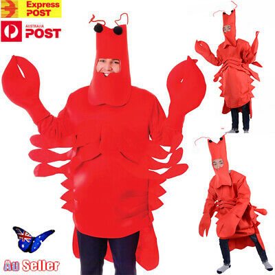 Adult Red Lobster Costume Outfit - Unisex Fancy Dress Sea Animal Halloween AU