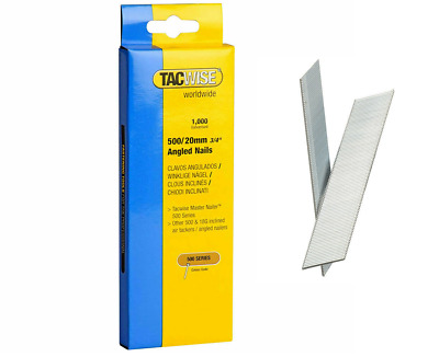 1000X Tacwise 400EL 500EL 20MM - 50MM Brad Nails 18 Gauge 18g ANGLED GALVANISED
