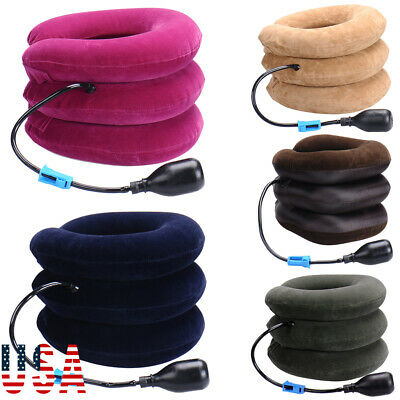 USA Inflatable Flight Pillow Neck Travel Hiking Rest Head Support Air Cushion