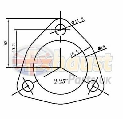 """57mm 2.25"""" Exhaust Flange Gasket 3 Bolt Triangular Repair Section Joiner Seal"""
