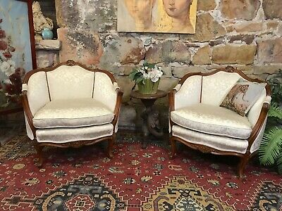 Pair Vintage French Louis Wingback Chesterfield Lounge Chairs~Armchair-Bergere