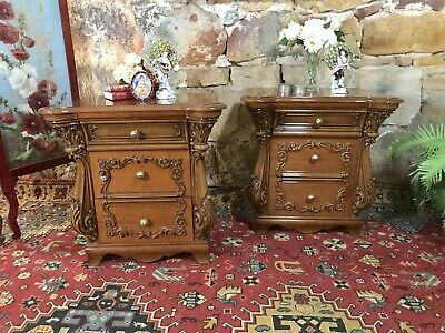 Pair Antique French Louis Style Bedside Lamp Tables-Commode~Drawers