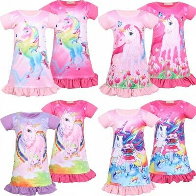 Girls Kids Unicorn Nightie Nightdress Princess Sleepwear Pyjamas Age 2-11 Years